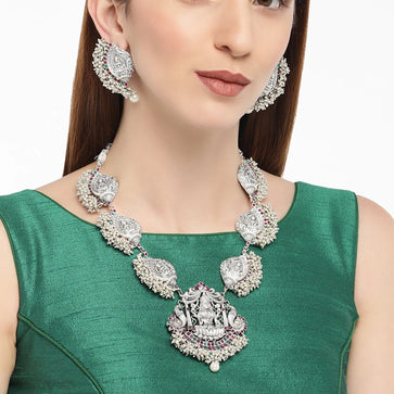 NS1118SW144S-Silvery Brass Antique Pearl Gutta Pusalu Temple Laxmi Necklace Set with Earrings for Women