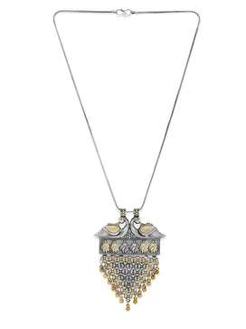NS1118SW40S -Dual Tone Two Tone Peacock Embellised Pendant With Silver oxidised Chain - access-her