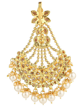 Antique gold jhoomar passa with dangling pearls