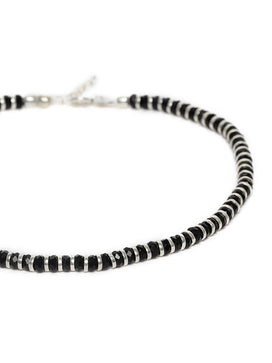 PY0121VS14S0S -92.5 Silver-Toned & Black Beaded Handcrafted Anklets