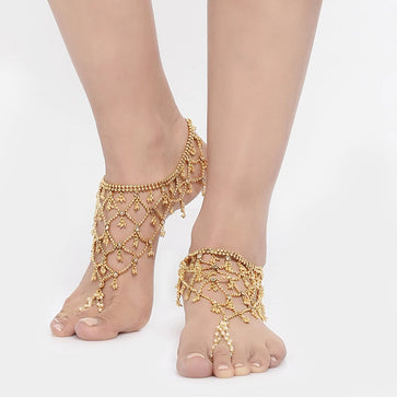 PY0219SR275G-Antique Gold Bridal Anklet with Toe Ring (2 Pcs)
