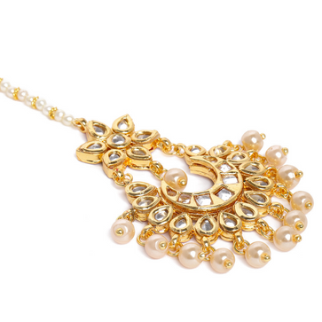 MT0920SS145GM-AccessHer Gold-Plated Kundan-Studded Handcrafted Maang Tika for women and girls