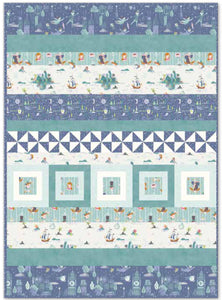 Fantasy Row Blue Quilt Kit