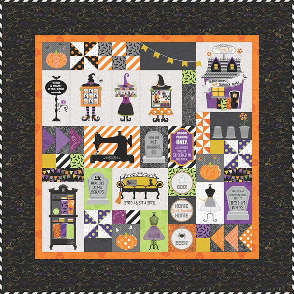 Pre-Order Hometown Halloween Candy Corn Quilt Shoppe Quilt Kit - SEWING