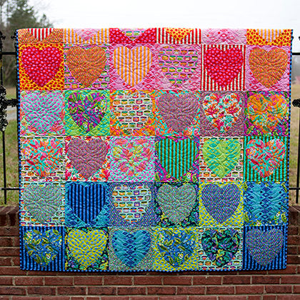 Faded Hearts Quilt Kit featuring Tabby Road by Tula Pink