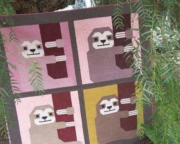 Sleepy Sloths Quilt Kit featuring Pond by Elizabeth Hartman
