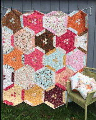 Sand Dollar Quilt and Pillow Kit featuring Mendocino by Heather Ross