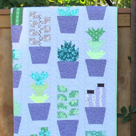 PRE-ORDER Greenhouse Medium Lavender Quilt Kit featuring Terrarium by Elizabeth Hartman