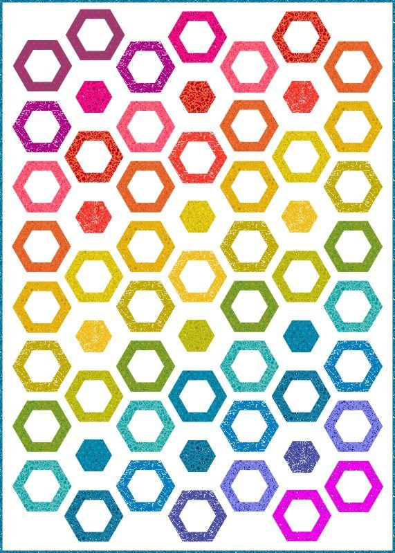 Hollow Hexies Quilt Kit featuring Sun Prints by Allison Glass
