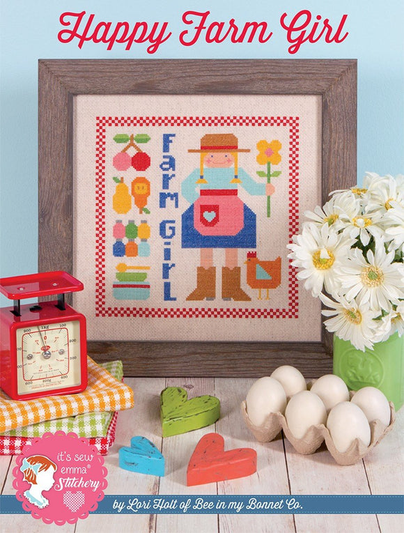 Happy Farm Girl Cross Stitch Pattern