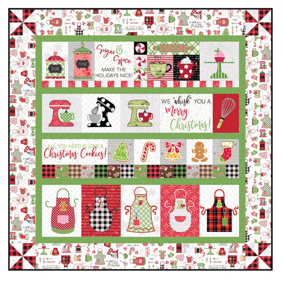 PRE-ORDER We Whisk You a Merry Christmas Quilt Kit - White Embroidery
