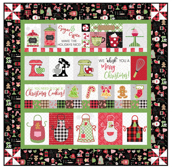PRE-ORDER We Whisk You a Merry Christmas Quilt Kit - Black Embroidery