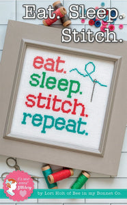 Eat Sleep Stitch Repeat Cross Stitch Pattern by Lori Holt