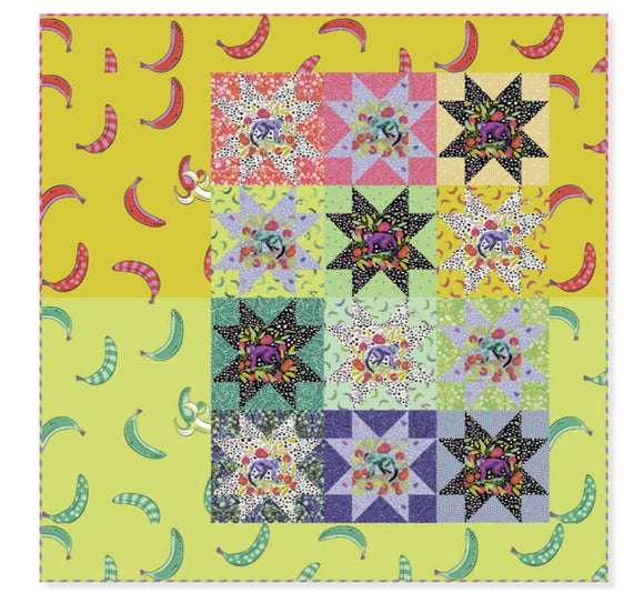 PRE-ORDER Fruit Salad Quilt Kit featuring Monkey Wrench by Tula Pink