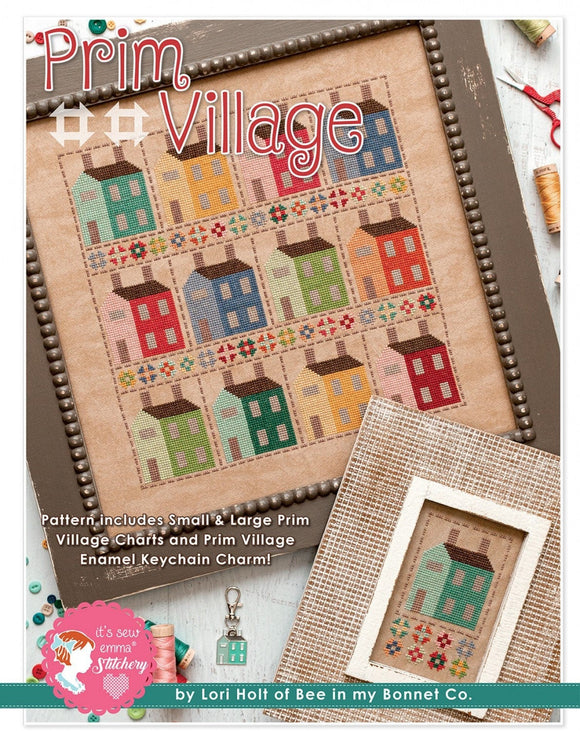 Prim Village Cross Stitch Pattern and Enamel KeyChain Charm