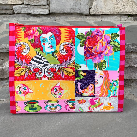 Pre-Order Custom for Kim Patchwork Curiouser Large Booklet Pouch