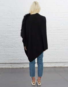 Asymmetry Poncho with Fox Fur Trim [Black]