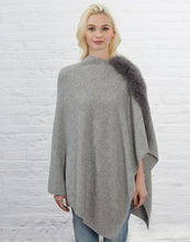 Asymmetry Poncho with Fur Trim [Light Grey]