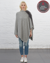 Asymmetry Poncho with Fox Fur Trim [Light Grey]