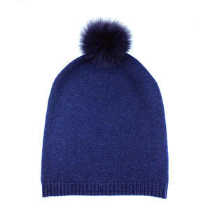 Long Beanie with Fur Pom Pom [Cobalt]