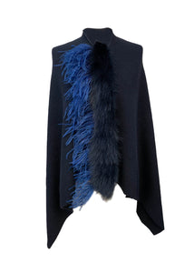 Asymmetry Poncho with Royal Blue Ostrich and Yellow Peacock Feathers