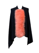 Asymmetry Poncho with Coral Faux Fur