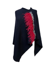Asymmetry Poncho with Red Ostrich and Spotted Peacock Feathers