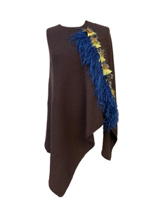Asymmetry Poncho with Royal Blue Ostrich and Yellow Peacock Feather