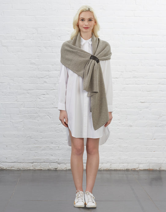 Webster Scarf with Leather Accent [Sand]