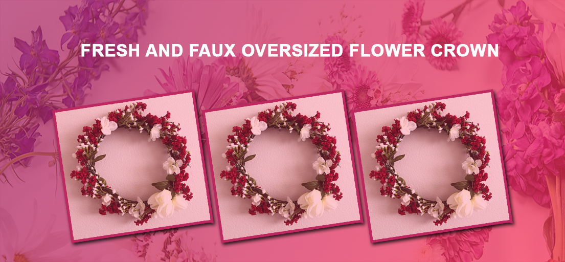 Fresh and faux oversized flower crown