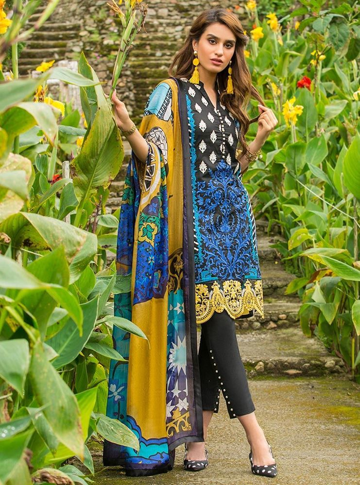 Zainab Chottani Luxury Lawn Collection'19 DANDELION SHADOWS - A SKU: Design 3A