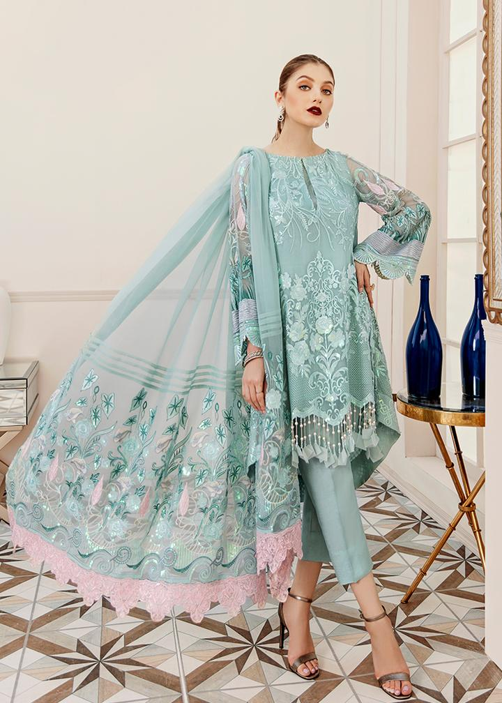 Afrozeh La Fuschia Luxury Chiffon Collection'20 Hazy Sky