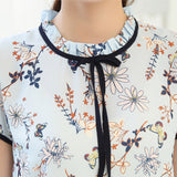 Floral Printed Ruffled Collar Short Sleeves Chiffon Blouse