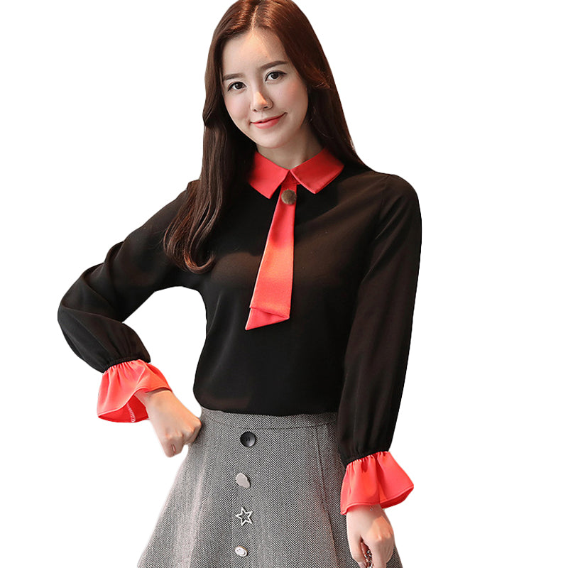 Frilled Long Sleeves Bow Tie Style Chiffon Blouse