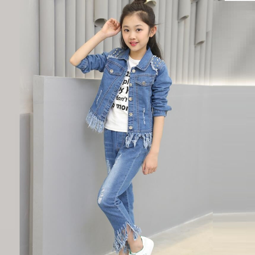 Full Sleeves Kids Casual Fainted Jeans Jacket and Pants JW3290A
