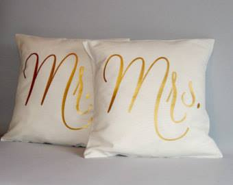 Mr. and Mrs.  Gold Pillow Pair