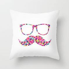 Specs and Mustache Multi Colored Pillow