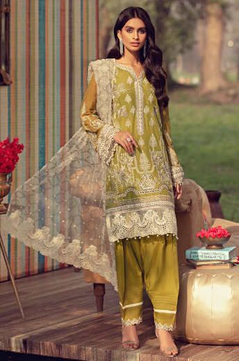 Rahi By Motifz Premuim Lawn Collection'21 2805-GREEN-OLIVES