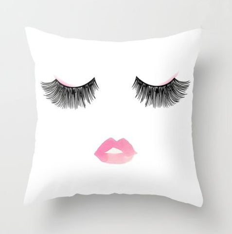 Eye Lashes and Lips Print Pillow