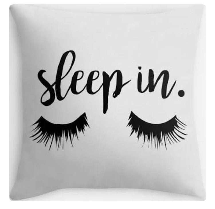 Sleep in Eye-Lashes Print Pillow