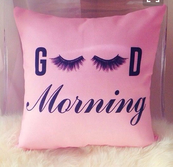 Good Morning Eye Lashes Pillow