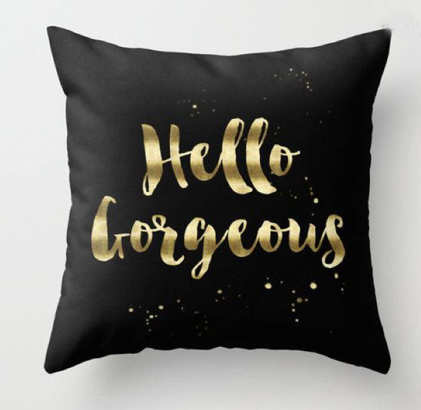 Hello Gorgeous Black and gold Pillow