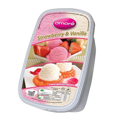 Omore Strawberry & Vanilla Tub Ice Cream 1.4 Ltr