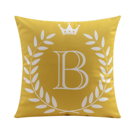 Letter B with crown and circular Border print Pillow