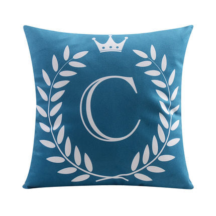 Letter C with crown and circular Border print Pillow