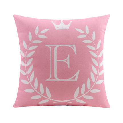 Letter E with crown and circular Border print Pillow
