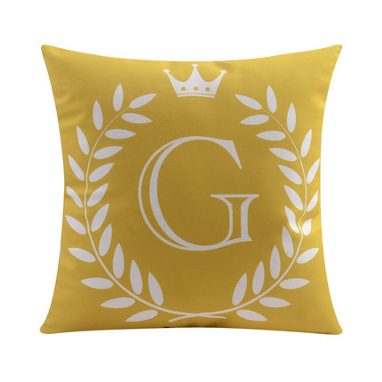 Letter G with crown and circular Border print Pillow