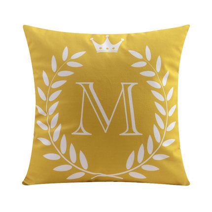 Letter M with crown and circular Border print Pillow