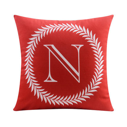 Letter N with circular Border print Pillow