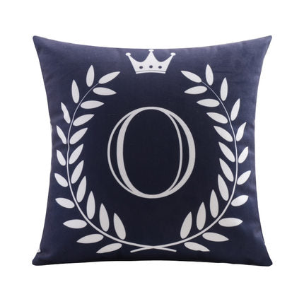 Letter O with crown and circular Border print Pillow
